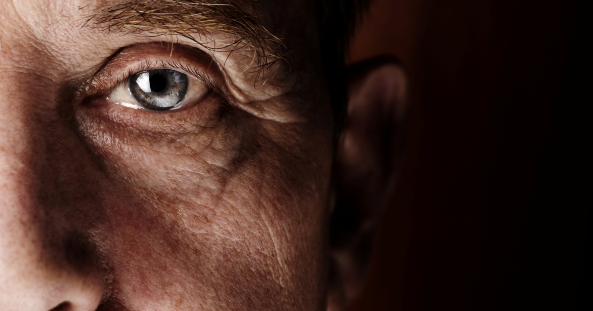 elderly man focus on eye