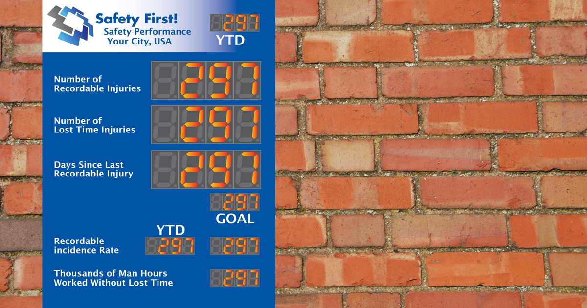 Safety Scoreboard with many digital displays on brick wall