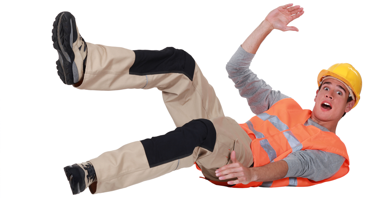 construction worker falling down