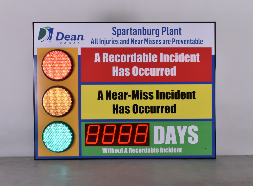 Safety board for Dean Foods with basic frame