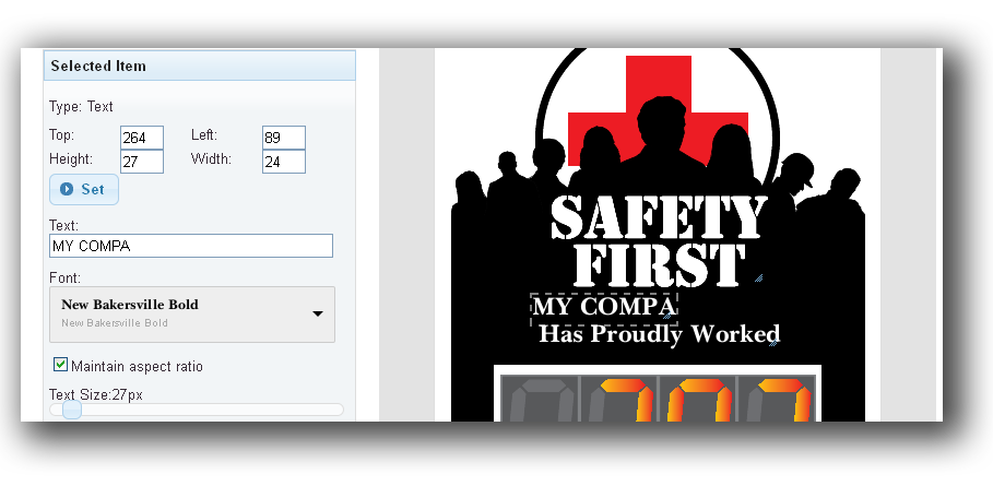 Digital safety day tracker designer