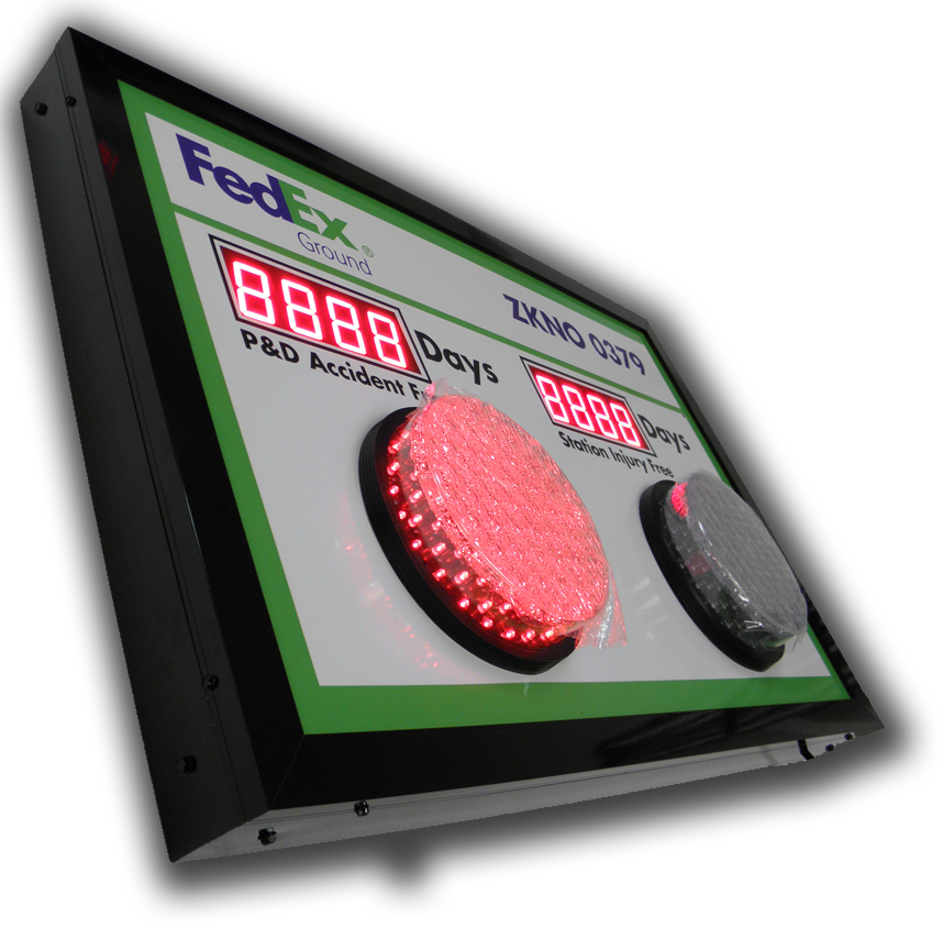 Exterior Safety Day Tracker with Red and Green Traffic Style Lights