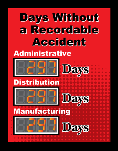 Days without a Recordable Accident Sign