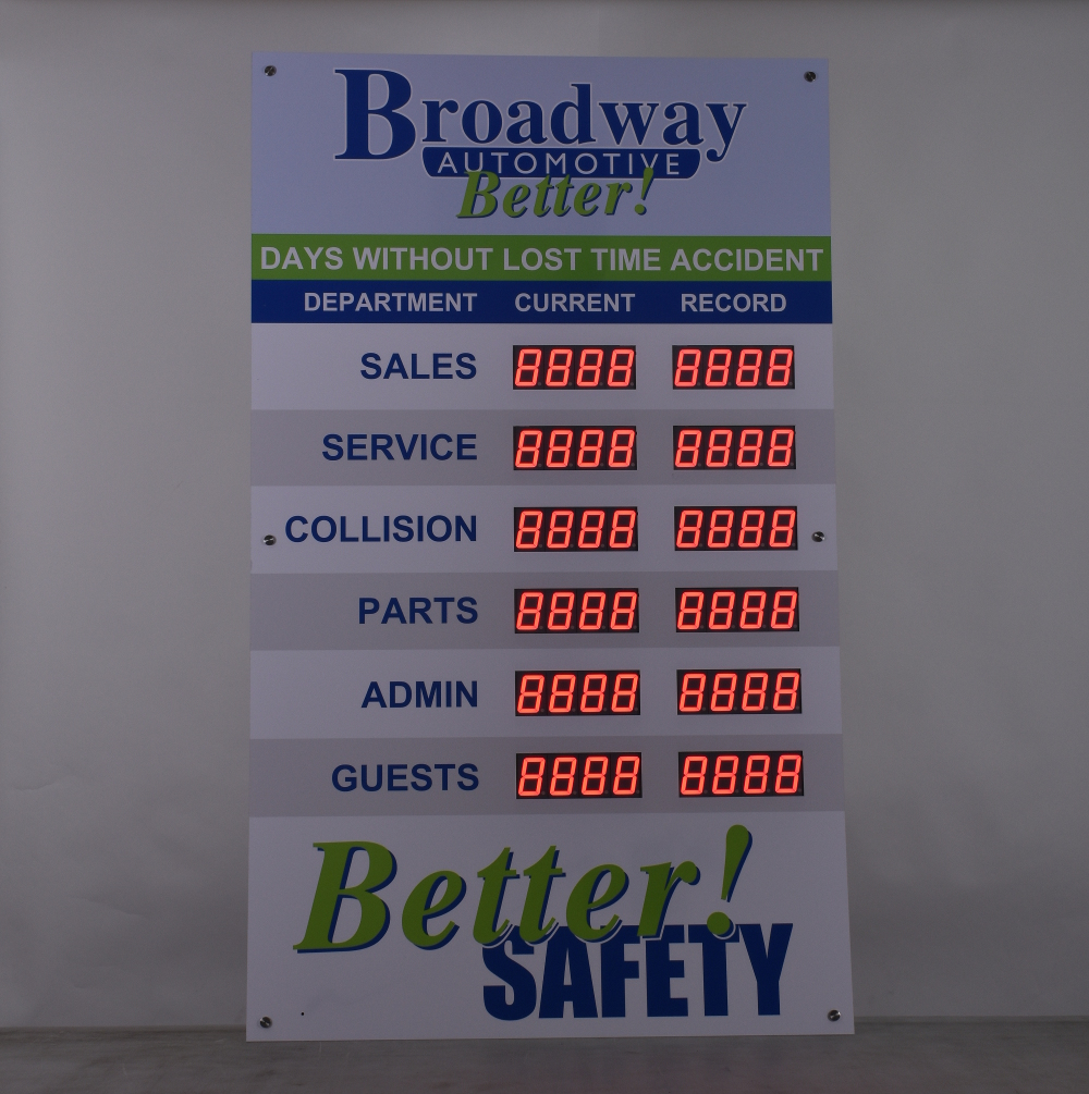 12 display safety board for Broadway Automotive