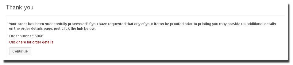 Order details link page