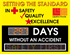 Scrolling message safety scoreboard design. Setting the standard in safety quality excellence.  Days without an accident.