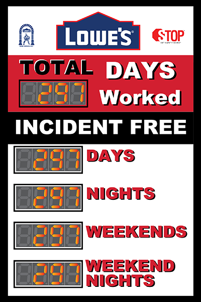 Total days worked incident free. Lowe's