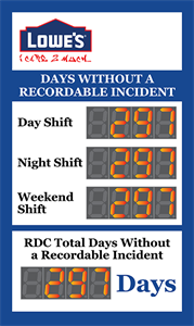 Picture of Custom Safety Record Sign with Four Large Counters (60Hx36W)