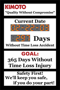 Picture of Safety Scoreboard with One Day Counter and Calendar (36Hx24W)