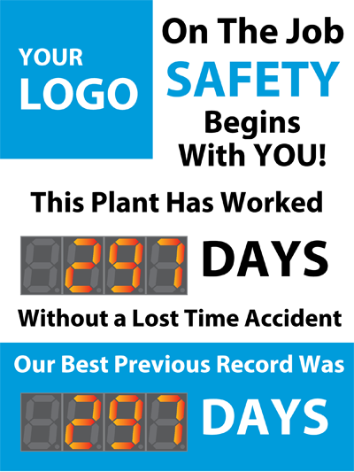 Accident Free Workplace Sign with Two Large Displays