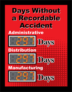 Picture of Number Days Since Last Accident Sign with Three Displays (28Hx22W)