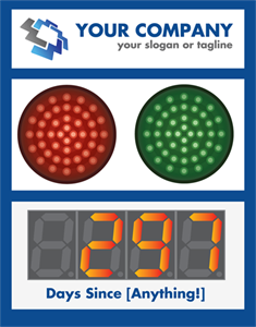 "Picture of Stoplight Days Since Last Accident Sign with 5"" Counter (28Hx22W)"