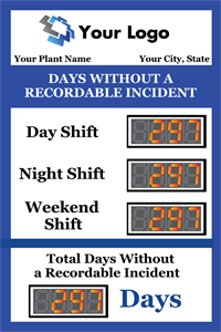 Picture of Days Since Last Accident Sign with Four Displays (36Hx24W)