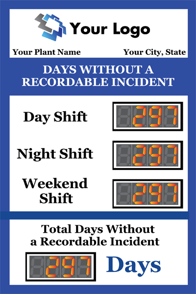Day shift, Night shift, Weekend shift. Total days without a recordable incident
