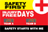 Safety first Injury Free Days. Team A. Team B. Safety Starts With Me.