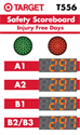 Picture of Custom Traffic Light Safety Scoreboard with Four Large Displays and Red/Green Stoplights (60Hx36W)