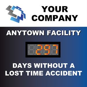 Picture of Custom Days Without Accident Sign with One Large Counter (48Hx48W)