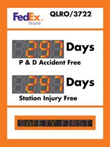 Picture of Scrolling Message Electronic Safety Scoreboard with Two Large Counters (48Hx36W)