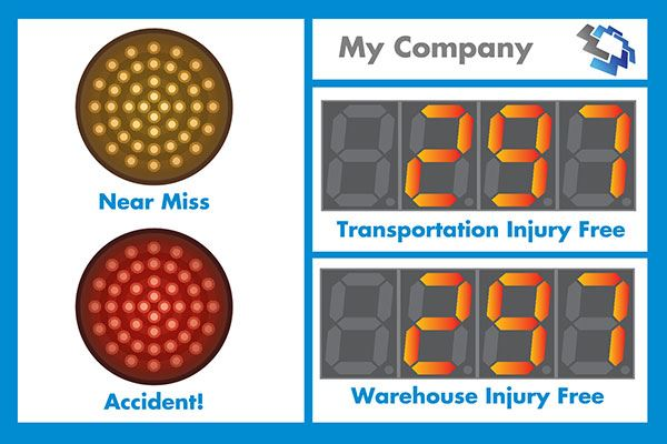My company.  Near Miss. Accident. Transportation injury free. Warehouse injury free.