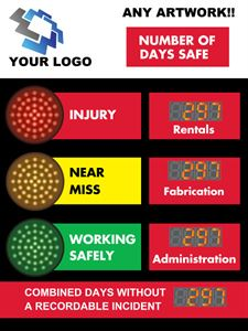 Picture of Stoplight Days Without Accident Signs with 4 Counters (48Hx36W)