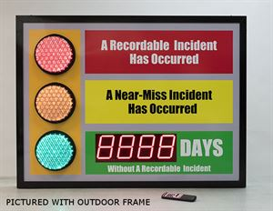 Picture of Stoplight Days Without an Accident Sign with Large Display (36Hx48W)