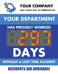 "Picture of Days Since Last Accident Sign with 5"" Counter (28Hx22W)"