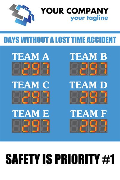 Days without a lost time accident. Safety is priority #1