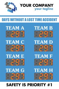 Days without a lost time accident. Counters for Team A to Team H