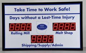 Picture of Days Without Accident Sign with Three Large Counters (36Hx60W)