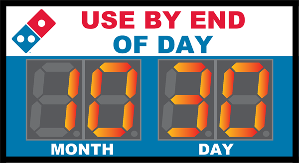 Bakery Timer for Dominos showing Month and Day