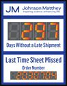 """Picture of Days Since Last Accident Sign with 5"""" Counter and 8 digit counter (28Hx22W)"""