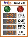 """Picture of Custom Days Without An Accident Sign with Four Large Counters + Red/Green 8"""" Stoplights (48Hx36W)"""